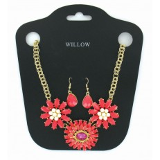 Red flower necklace and earrings