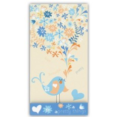 Blue Bird Cream Background