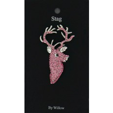 Stag Head Brooch Pink Silver